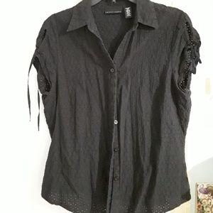 Black eyelet lace Apostrophe blouse